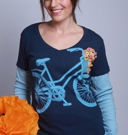 Green 3 Apparel Floral Bike V-Neck DU