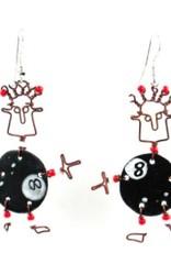 Global Crafts Dancing Girl Eight Ball Earrings