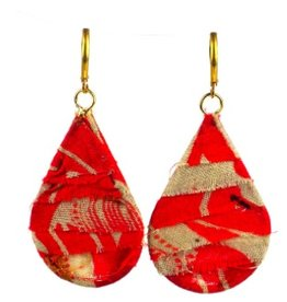 Global Crafts Kantha Teardrop Earrings