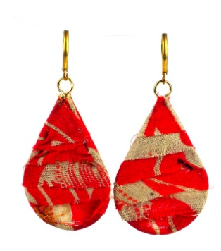 Global Crafts Kantha Teardrop Earrings