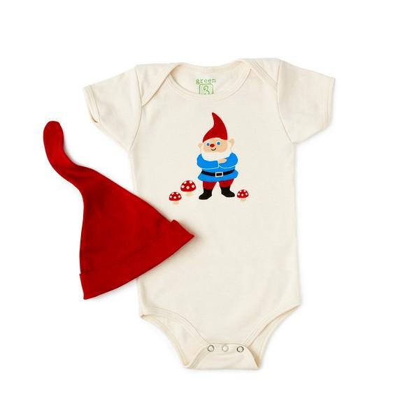 Green 3 Apparel Gnome Baby Onesie/Hat Set