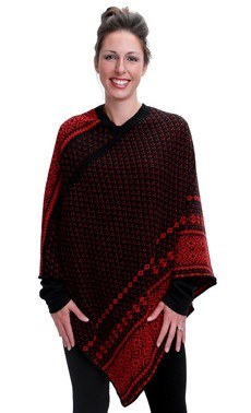 Green 3 Apparel Nordic Stripe Poncho Black/Red