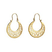 Asha Handicrafts Association Gold Ornate Crescent Earrings