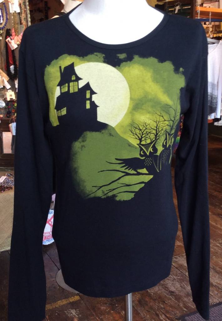 Green 3 Apparel Haunted House Owl