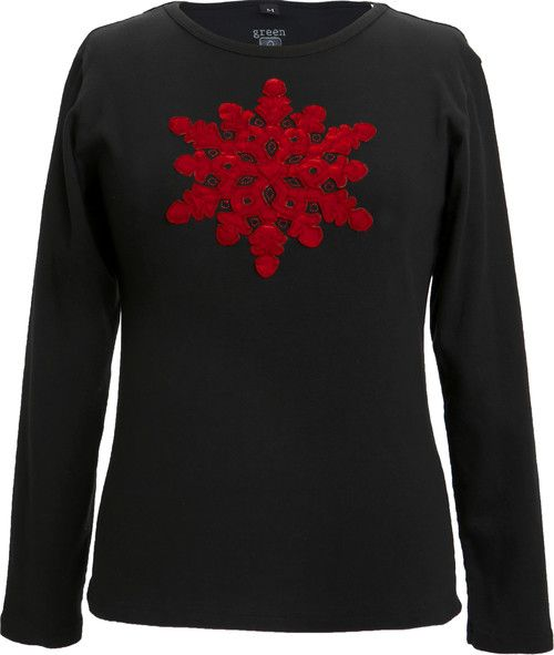 Green 3 Apparel Applique Velvet Snowflake