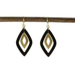 WorldFinds Double Diamond Earrings-gunmetal/gold