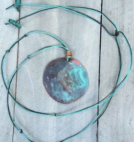Ezra and India Copper Circle Patina Necklace