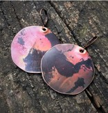 Ezra and India Red/Black Copper Disc Earrings