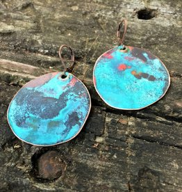 Ezra and India Copper Patina Disc Earrings