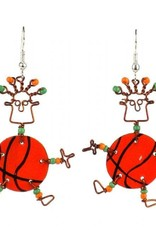 Global Crafts Dancing Girl Basketball Earrings