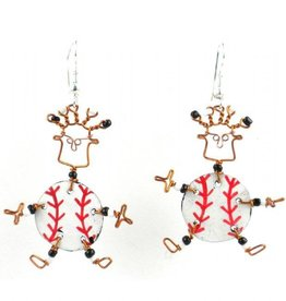 Global Crafts Dancing Baseball Earrings