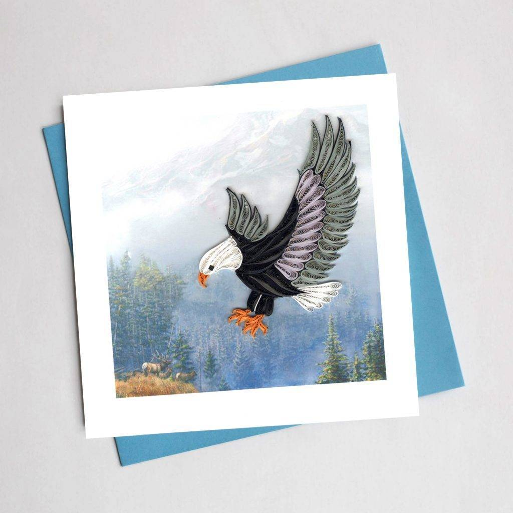 Quilling card flying eagle daiseye quilling card flying eagle altavistaventures Image collections