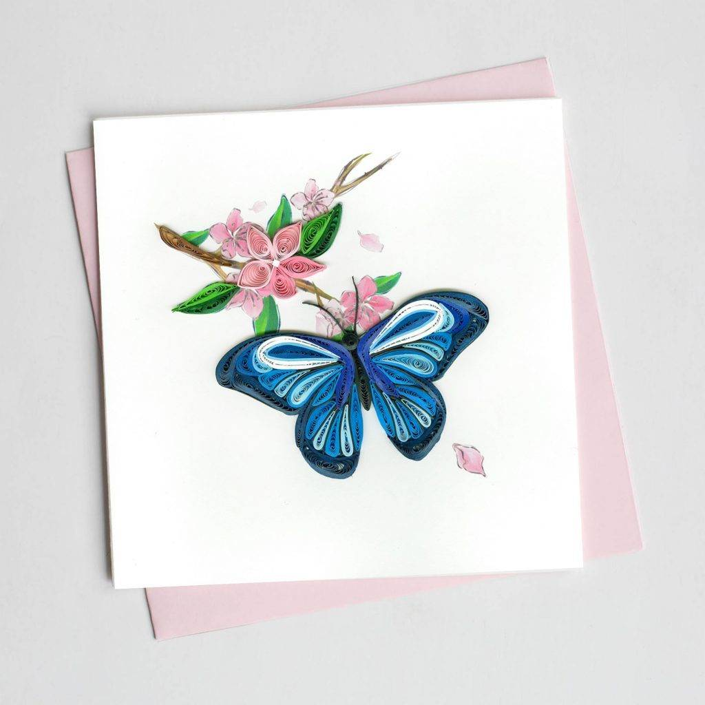 Quilling Card Blue Butterfly