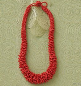 SERRV Vermillion Seed Bead Necklace Red