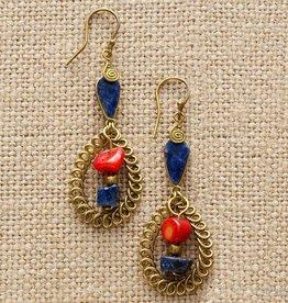 SERRV Red Blue Curlicue Earrings
