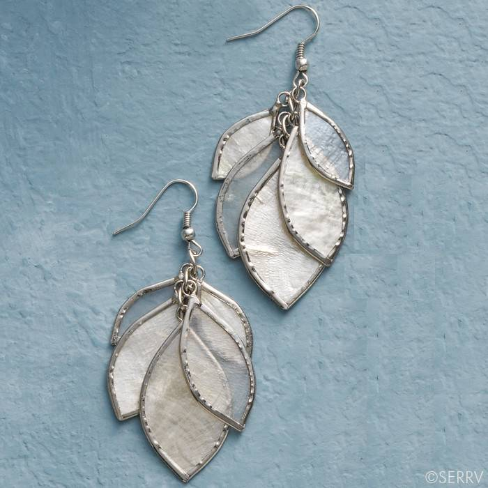 SERRV Shimmering Leave Earrings