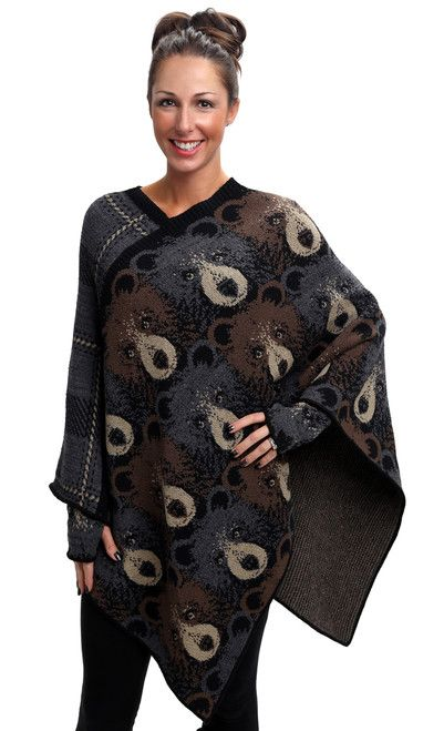 Green 3 Apparel Multi Bear Poncho