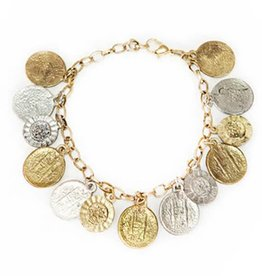 Matr Boomie Coin and Flower Charm Bracelet