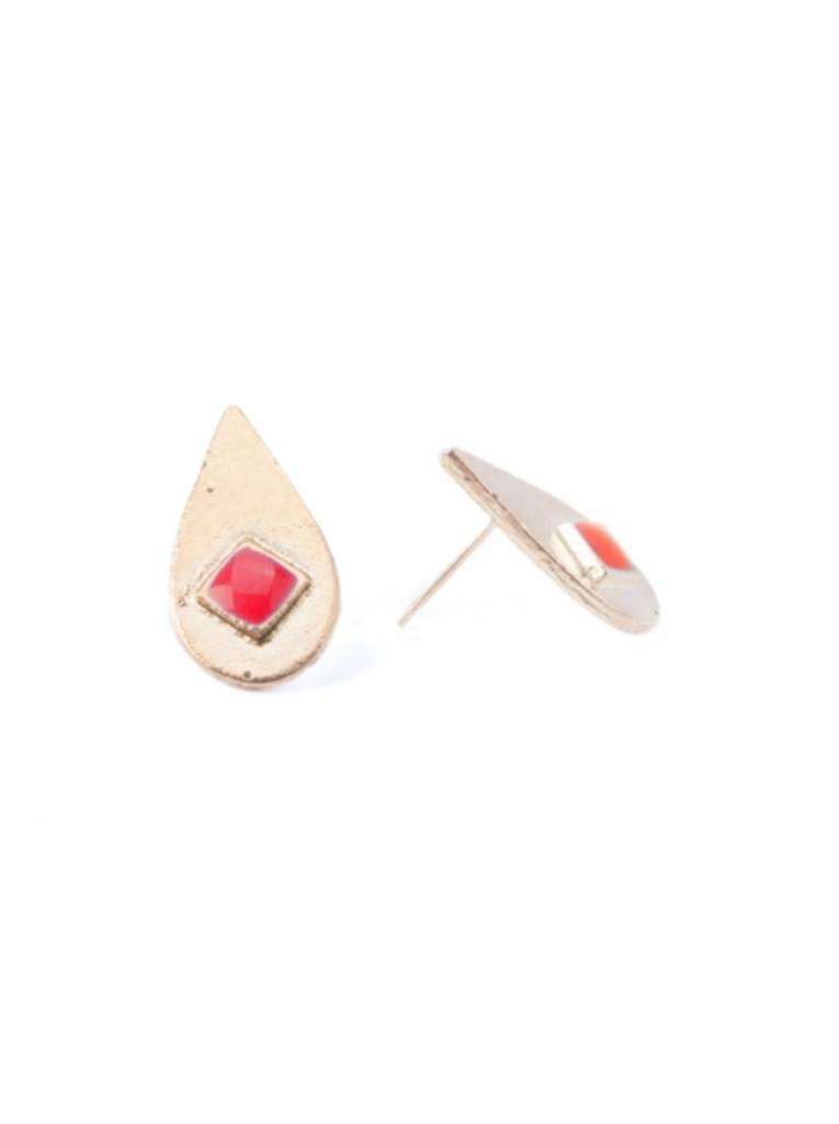 Mata Traders Iona Inlay Studs Red