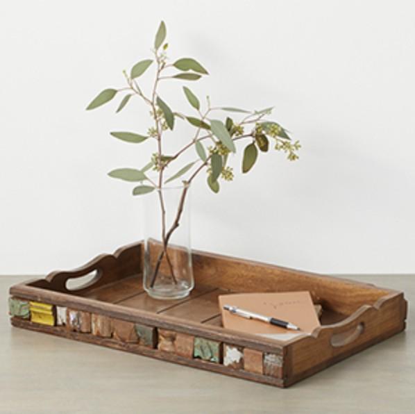 Reclaimed Wood Block Tray