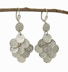 Stamped Disc Chandelier Earrings - Silver