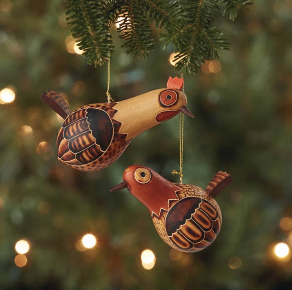 Rooster & Hen Ornament