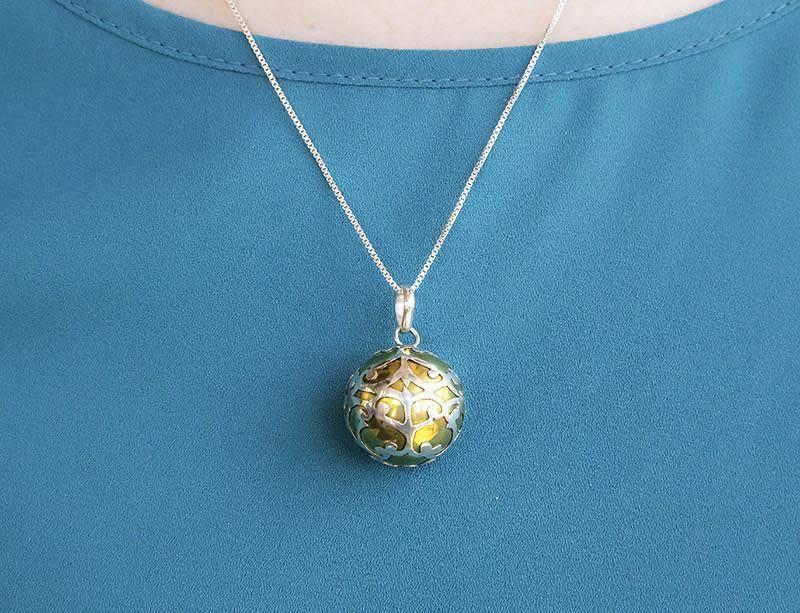 Dream Ball Pendant w/ Silver Scroll