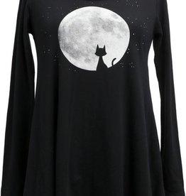 Green 3 Apparel Cat Moon LS Tunic
