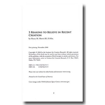 Dr. Henry Morris III Five Reasons to Believe in Recent Creation - eBook