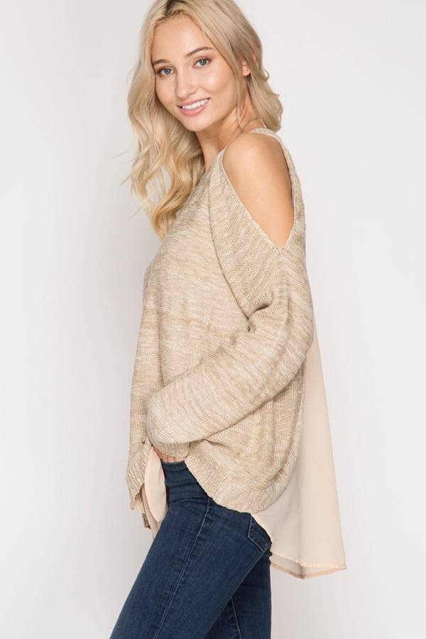 SHE + SKY Long Sleeve with Chiffon Insert