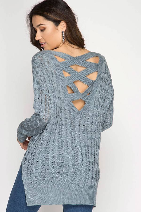 SHE + SKY Long Sleeve Cable Weave Sweater