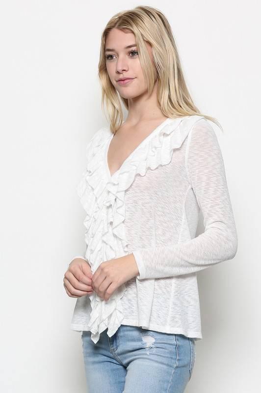 L/S Knit Ruffle Cardi