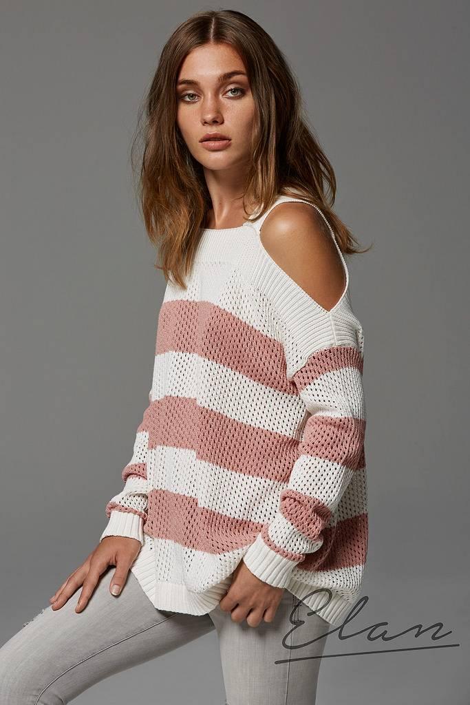 ELAN Blush Striped Sweater