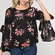 SHE + SKY Open Sleeve Floral Blouse