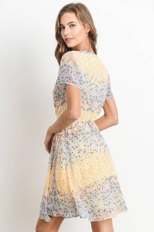 Daisy Print Wrap Dress