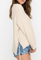 Side Lace Up Knit Sweater