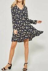 LISTICLE Cross Button Down Long Sleeve Dress