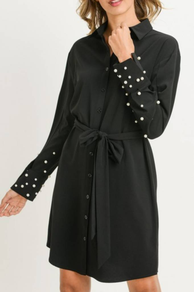 Pearl Embellished Shirt Dress