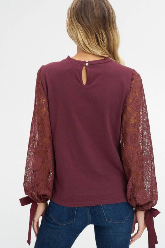 LISTICLE Lace Sleeve Round Neck Top