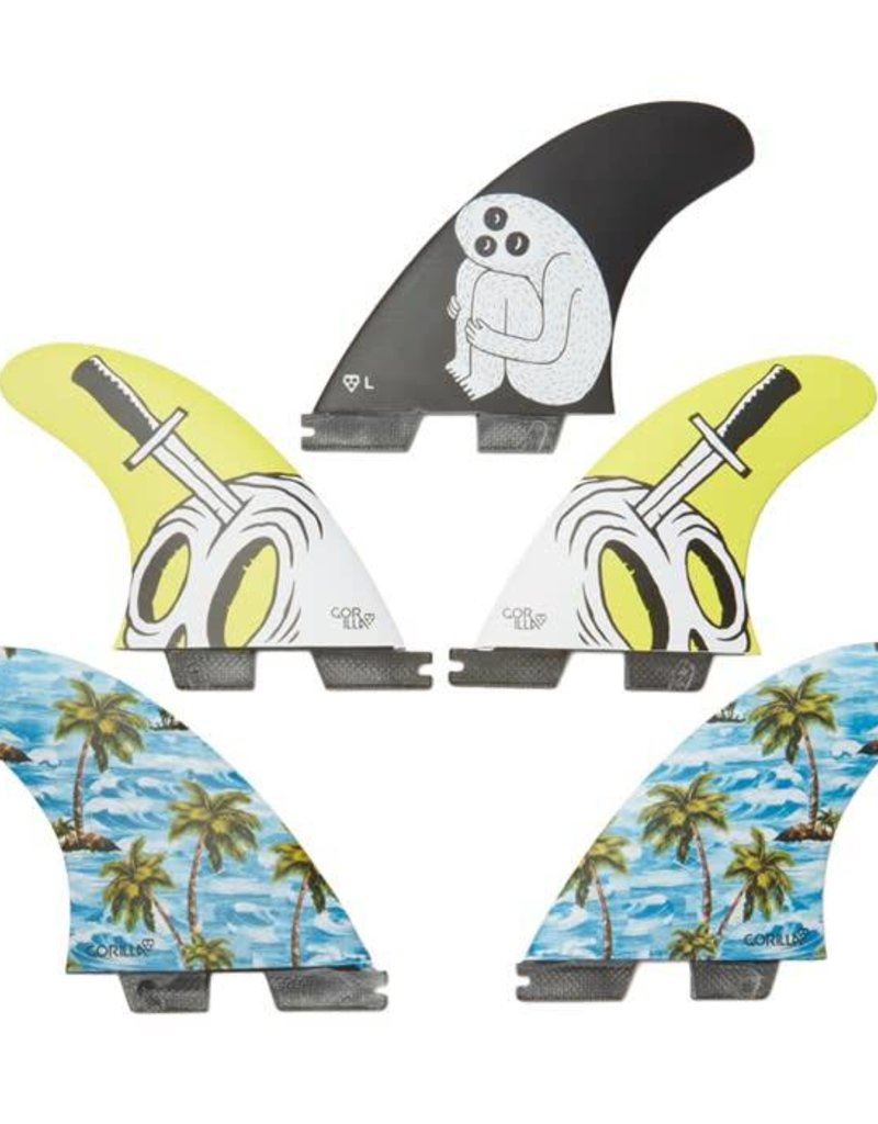 Gorillasurf FCS 2 Sloth Palm Trend Shank LARGE Tri-Quad Set