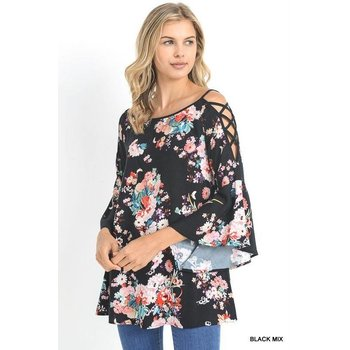 Floral Top W/ Bell Sleeves