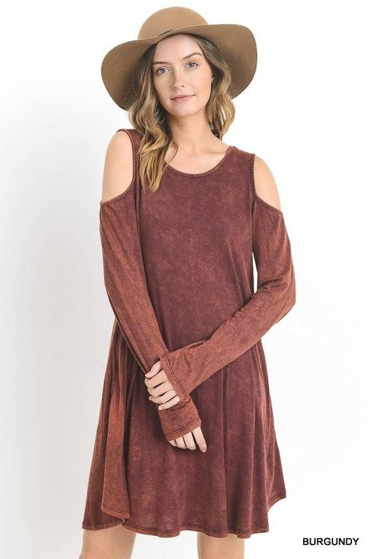 Washed Cold Shoulder Dress