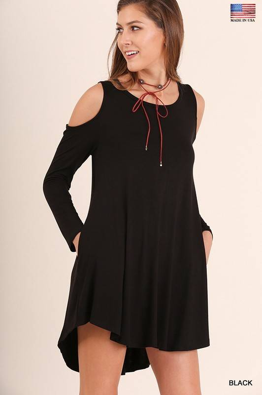 Cold Shoulder Pocket Dress
