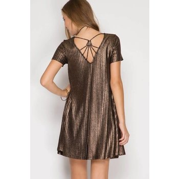 Metallic Ribbed Swing Dress
