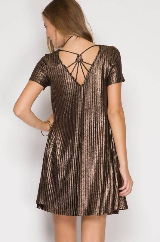 Metallic Ribbed Swing Dress