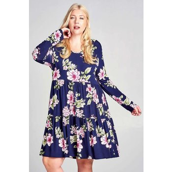 Scooped Back Floral Dress