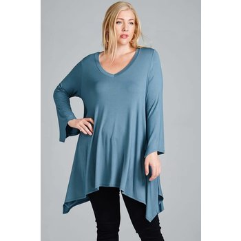 Hi-Low V-neck Tunic