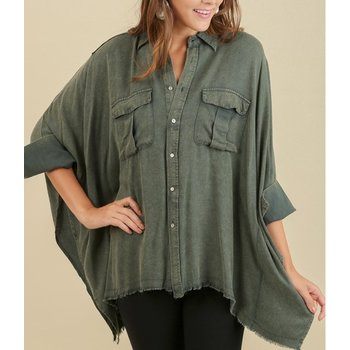 Acid Washed Batwing Button up Top