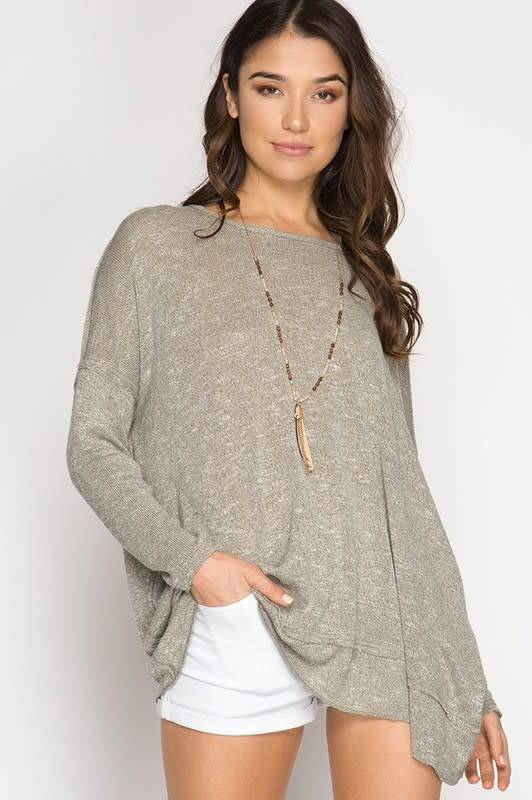 Long Sleeve Top Twisted Open Back