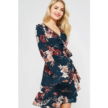 Floral Ruffle Wrapped Dress